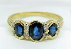 Sapphire and Diamond 9ct Gold Ring