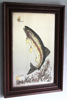 """Franklin Mint 1979 - etching """"Rising Rainbow Trout"""" - sterling silver on copper with 24 k gold"""