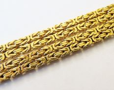 Solid 585 men's gold necklace / king's braid link, 80 cm, 4 mm in diameter, 55 g