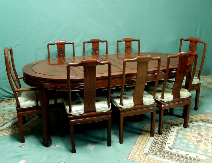heavy wooden chinese dining room table set table with 8
