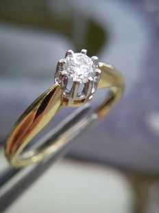14 ct geelgouden 0,15 ct diamanten solitair ring