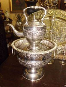 Antique English Royal Ascot samovar, plated in embossed silver