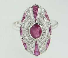 14k white golden ring in Art Deco style, inlaid with ruby and diamond *****no reserve price*****
