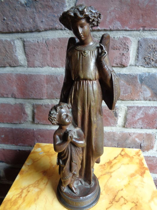 Neo-gothic bronze Guardian angel with child - France - 19th century