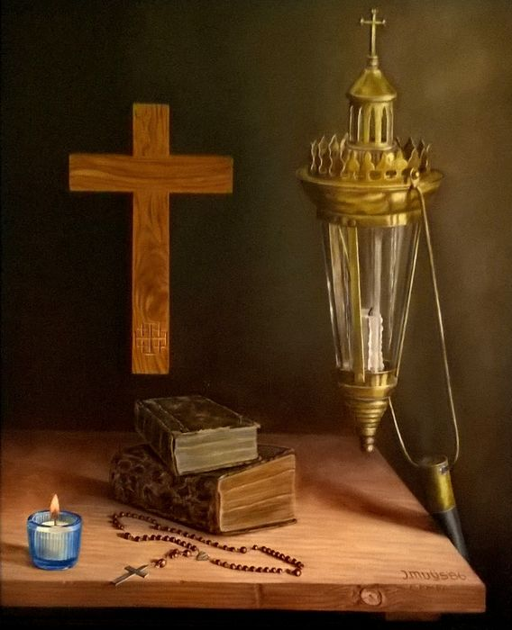Jan Muijs (1925 - 2015) - Still life with procession candlestick, crucifix and rosary