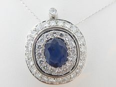Pendant set with 1.60 ct diamond and a sapphire approx. 1.82 ct.