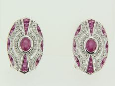 14 kt white gold clip-on earrings in Art Deco style set with ruby and diamond