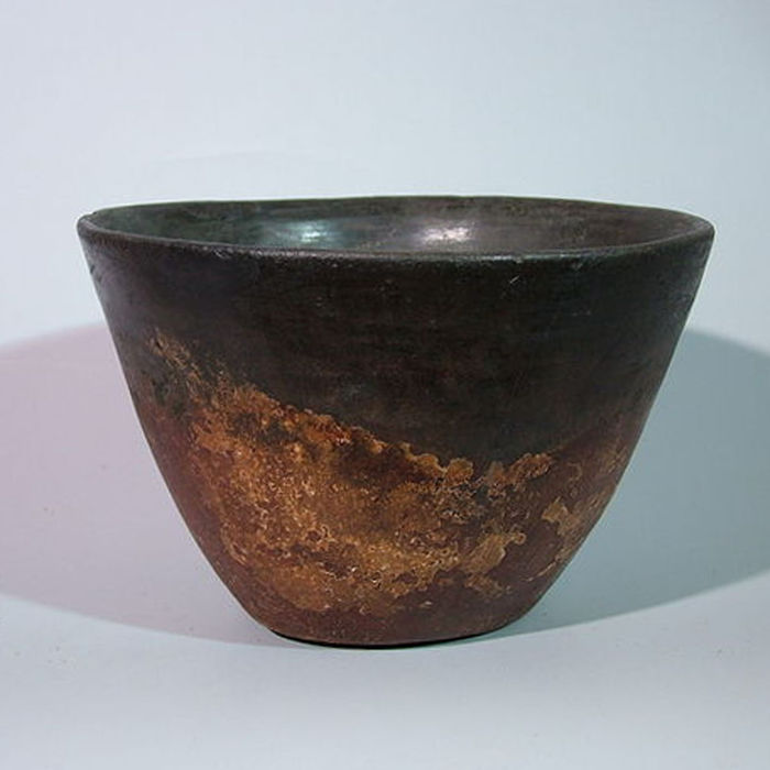 Ancient Egyptian terracotta Blacktop bowl - Ø 17 cm