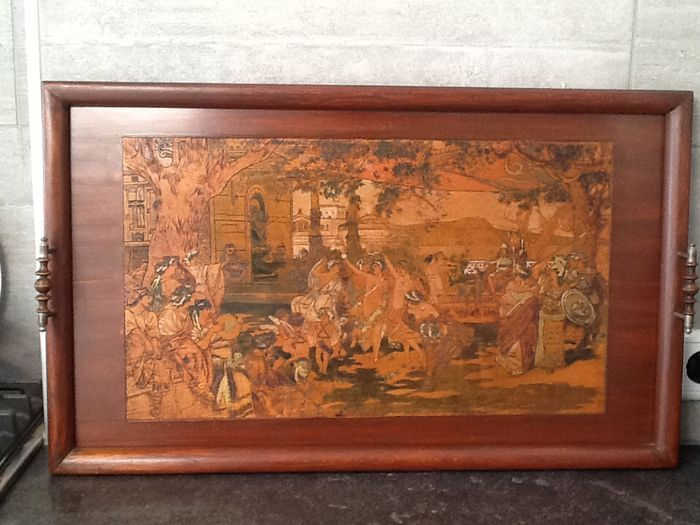 "Jugendstil large wooden serving tray with mythological depiction ""The judgement of Paris"""