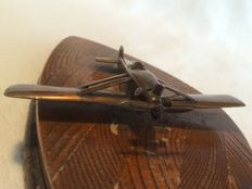 Unique/original bronze model 1910-1920, open monoplane with real wood base made from wings and iron plate