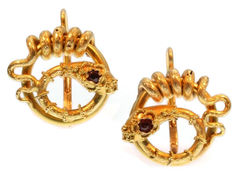 Late Victorian-early Art Nouveau gold snake earrings with strass stone head