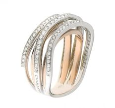 Chimento - Ring, 18 karat, bicolour with 0.55 ct diamond, ring size 14 (54)