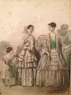 Lot with 7 fashion lithographs from France - ca. 1900