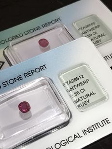 Two rubies – 0,36 ct and 0,39 ct