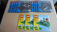 City - 7280 (5x) + 7281 (4x) + 626 (3x) - Straight & Crossroad Plates + T-Junction & Curved Road Plates + Baseplate, Green