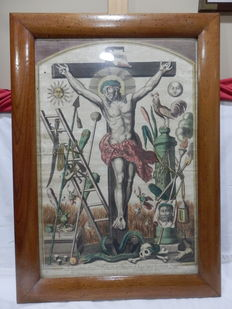 Antique Very Rare Engraving of Crist with his Passions, XVIII/XIX - Spain