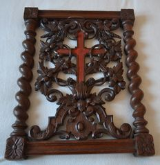 Framework-part of a pray - God carved solid oak - France - 19th