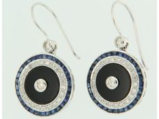 14 kt white gold dangle earrings with onyx, sapphire and diamond