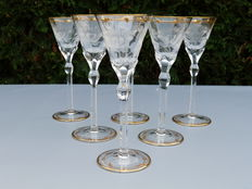Moser - a set of six crystal wine glass, engraved and gilded with 24 carat gold - model Paula - Czech Republic - second half 20th century