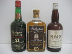 3 bottles: Hedges and Butler 21 years + Ballantines 12 years + Haig Gold Label - from the 1980s