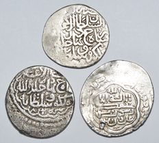 Ancient East - Lot of 3 Islamic Post Abbasid, Mongol Dynasty Ilkhanids Shahrukh AR Dirham. Mint : Tabriz Circa 14th Century