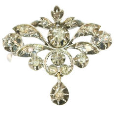 Victorian diamond gold backed silver brooch - anno 1890