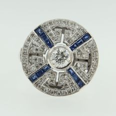 14 kt white gold art deco style ring with old European octagon cut diamond with sapphires, in total 1.75 ct
