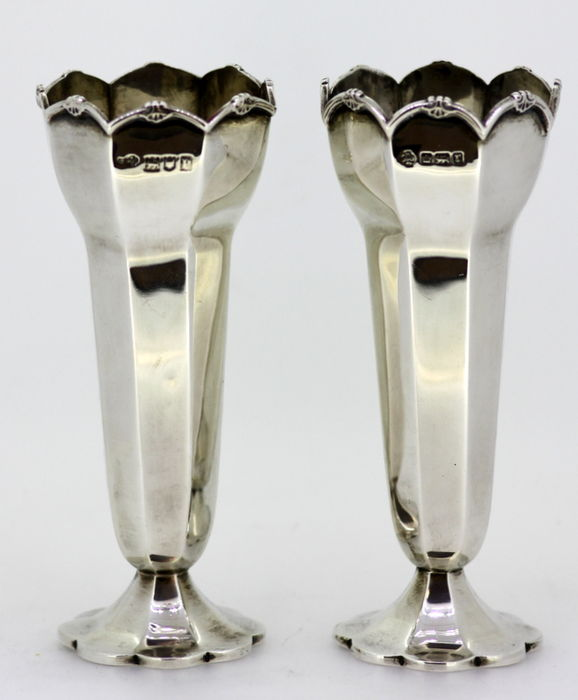 Pair Of Small Silver Vases William Hutton Sons Ltd Sheffield