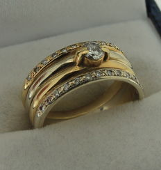 14 kt bicolour gold ring, 0.20 ct – size 17