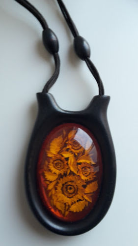 Designed  necklace with pendant  100 % natural Baltic amber