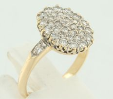 18k bi-colour gold ring with 36 diamonds ****NO RESERVE PRICE****