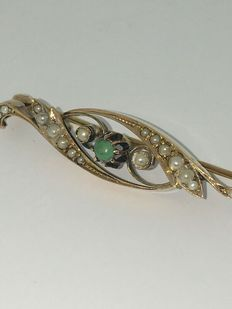 Old Dutch brooch, 14 kt gold set with small pearls and turquoise