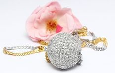 "IGI Certified Gold diamond ball pendant necklace in solid 14 kt white hallmarked gold with yellow gold chain and ""S"" lock"