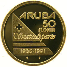 "Aruba, 50 florins 1986-1991  ""Status Aparte"", with certificate, in coffer, gold."
