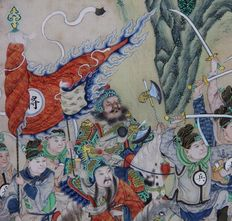 Painting in silk and gold on a mythological subject - China - 19th century