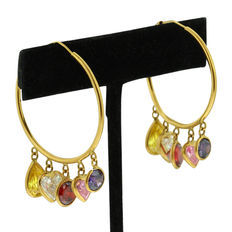 18kt Yellow Gold Set of Fantasy 'Loop' Earrings with Multiple synthetic colored stones