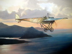 "Fine Art Print ""The Mediterranean sea crossing"", Roland Garros, 1913 (Great Moments in Aviation)"