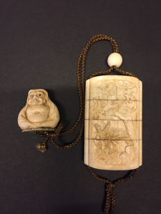 A finely carved Japanese ivory inro with an ivory signed netsuke - Japan - ca. 1900