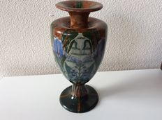 Fa. Wed. N.S.A. Brantjes & Co. Purmerend - Polychrome earthenware vase with floral decoration