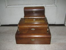 a set of four wooden storage boxes, England, late 19th/early 20th century