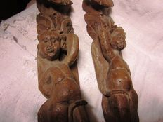 Antique walnut wood pilasters - 18th/19th century
