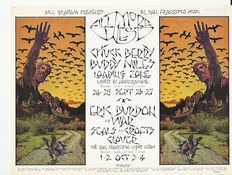 Muziek: The Byrds, Chuck Berry,  Bo Diddley - posterart by David Singer - 1970