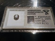1.16 ct brilliant cut diamond - G - IF