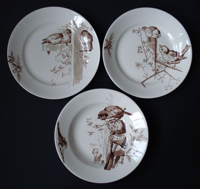 petrus regout - 3 plates with sparrows - series plata - catawiki
