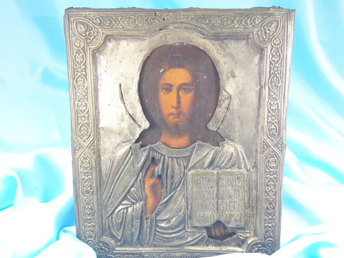 RUSSIA - Special Icon of Jesus as Pantocrator, 19th century -Handmade