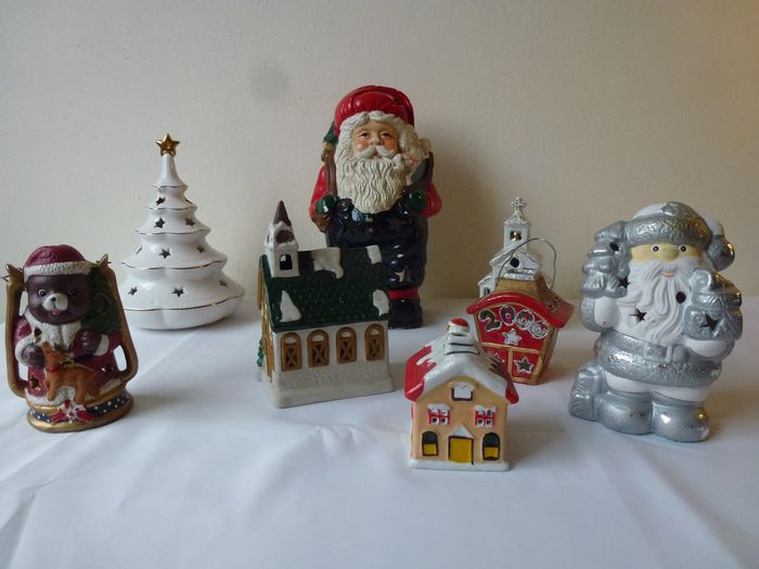 porcelain and ceramic christmas candle holders houses and santa clauses - Ceramic Christmas Houses