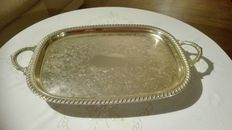 Serving tray with floral pattern on twisted feet, Leonard Silver Plate, Italy, approx. 1955