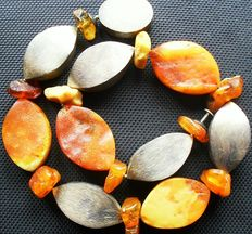 Baltic natural amber 925 silver necklace butterscotch colour, 75.4 g
