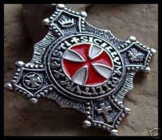 AJS Collection - Silver Double Sided Knights Templar Pendant Medal
