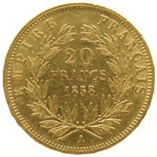 France – 20 Francs 1858A Napoleon III – gold